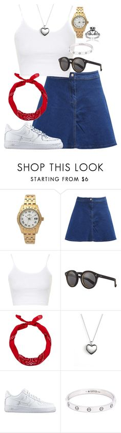 """Outfit 144"" by lexiesimpson on Polyvore featuring Invicta, Topshop, Illesteva, Pandora, NIKE, Cartier, West Coast Jewelry, women's clothing, women and female"