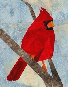 """Wee Cardinal"" offered by silverliningsoriginals.com/qc - paper pieced bird pattern - kit for sale"