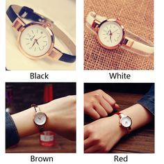 Elegant Ladies Thin Strap Diamond Rose Gold Alloy Quartz Wrist Watch
