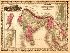 "Johnson's 1864 ""Hindostan"" map – image via http://westerncivguides.umwblogs.org/2013/12/06/the-british-in-india/"