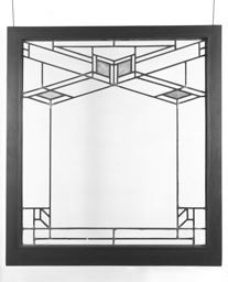 Frank Lloyd Wright - Leaded Glass Light Screen from the Robert W. Evans House, 9914 South Longwood Drive, Chicago, Illinois. Circa 1908. Clear, Opaque and Mottled Glass in Copper-Plated Zinc Cames and Oak Sash. Sash Size: 105.2cm x 95cm x 8cm.