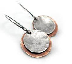 Mixed Metal Earrings, Copper Sterling Silver Dangle Hammered Disc Boho | Gheet - Jewelry on ArtFire