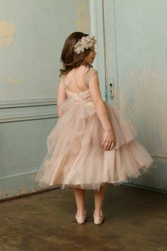 Rose pink tulle shirred strap baby girl dress for wedding. Flower girl dress with tiered tea length skirt adorned with tulle flowers and sash. Tulle Flower Girl, Tulle Flowers, Flower Girls, Blush Flower Girl Dresses, Baby Flower, Flower Crown, Tulle En Satin, Pink Tulle, Champagne Flower Girl