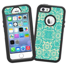 """Amazon.com: Blue on Cream Floral Damask """"Protective Decal Skin"""" for OtterBox Defender iPhone 5s Case: Cell Phones & Accessories"""