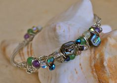 Recycled Guitar String ABALONE Bangle