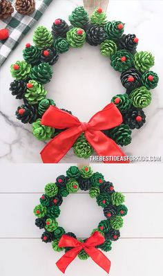 PINE CONE WREATH - such a beautiful and easy Christmas wreath! This easy DIY christmas pine cone wreath makes a great gift too! PINE CONE WREATH - such a beautiful and easy Christmas wreath! This easy DIY christmas pine cone wreath makes a great gift too! Christmas Pine Cones, Easy Christmas Crafts, Diy Christmas Ornaments, Simple Christmas, Christmas Christmas, Christmas Ideas, Beautiful Christmas, Pine Cone Crafts For Kids, Outdoor Christmas