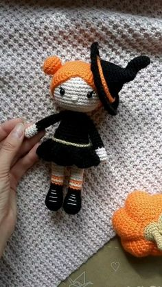 Amigurumi doll Halloween witch Red Things red color on skin Crochet Doll Pattern, Easy Crochet Patterns, Crochet Patterns Amigurumi, Amigurumi Doll, Crochet Dolls, Crochet Baby, Knitting Patterns, Halloween Doll, Halloween Crochet