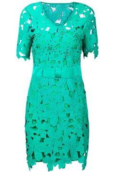 Green Short Sleeve Hollow Flower Slim Dress pictures
