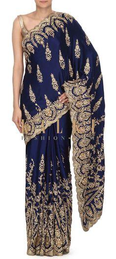 Buy this Navy blue saree embellisehd in zardosi embroidery only on Kalki