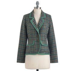 Nick & Mo Attire Education Blazer ($65) ❤ liked on Polyvore featuring outerwear, jackets, blazers, coats, modcloth, stretch blazer, button jacket, blazer jacket and button blazer