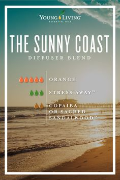Are you missing warmer weather? Bring the Sunny Coast into your home with this diffuser blend! It's made out of 5 drops of Orange, 3 drops of Stress Away, and 2 drops of Copaiba or Sacred Sandalwood. #yleo #diffuserblend #essentialoils