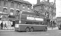 I should have ensured that the poles and wires were completely within the frame the shot does display an angle of view not often recorded. This is a Leyland K on route 641 in Wood Green. Routemaster, London Bus, London Transport, Vintage London, Busses, North London, United Kingdom, Transportation, Display