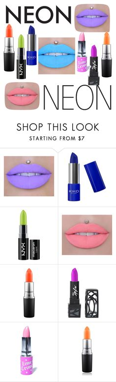 """Neon Lips."" by xxblindian ❤ liked on Polyvore featuring beauty, NYX, MAC Cosmetics, The Lip Bar and Lime Crime"