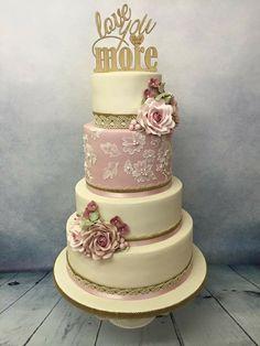 My wedding cake. Engagement Cakes, Wedding Cakes, Bridal Shower, Rustic, Birthday Ideas, Desserts, Wedding Ideas, Food, Vintage