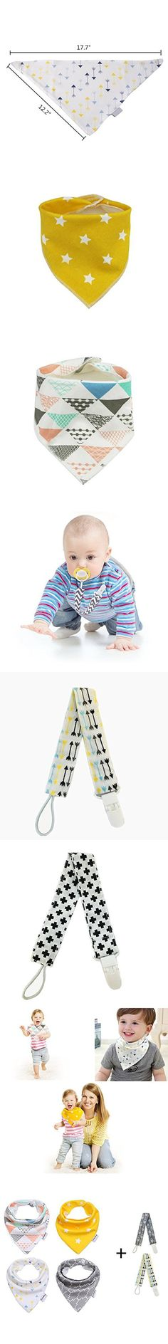Ahyuan Baby Bandana Bib Unisex 4-Pack Cotton Drool Bibs with 2 Extra Cotton Pacifier Clips Cute Baby Shower Gift Sets for Boys & Girls