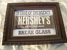 This Chocolate Emergency Kit is one of my favorite products. It's a regular ounce Hershey candy bar inside a inch chocolate brown frame. What makes me laugh the most about this emergency kit Colicchia Deco Dyi, Just In Case, Just For You, Do It Yourself Baby, Little Presents, Chocolate Lovers, Chocolate Brown, Chocolate Party, Chocolate Funny