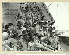 HAMILTON WHARF, BRISBANE, QUEENSLAND. 1945-03-29. HEADQUARTERS 1 BASE SUB-AREA TROOPS ON THE MAIN DECK ABOARD HMAT DUNTROON DURING THEIR EMBARKATION. Riverside City, My Ancestry, Brisbane Queensland, Aussies, Troops, Ww2, World War, Hamilton, Vietnam