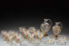É.GALLÉ (1846-1904)___ Rare service en cristallerie translucide à décor d
