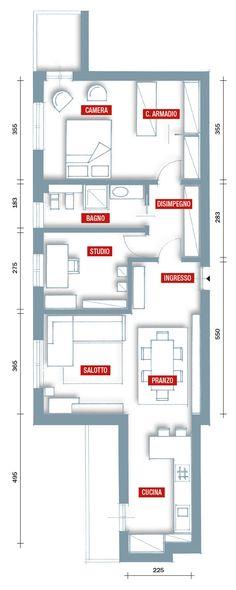 In 80 mq sono stati ricavati tanto spazio per contenere, una stanza da adibire a studio e nella camera matrimoniale la cabina armadio.