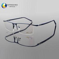 28c71fd081 New Designer Men s Half Rimless Titanium Alloy Eyeglass Frames Optical RX  Able