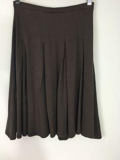 ELLA MOSS Girl's Best Friend Pleated Rayon Swing Skirt XS Brown Knee Length #ellamoss #Pleated