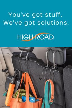 Our Contour CarHooks free up space on the seat and floor while keeping grocery bags, purses and more stable and secure. See these and more problem-solving car organizers at www.highroadorganizers.com