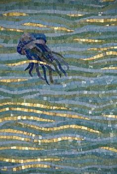 An exquisite mosaic depicting sea-life in the courtyard gallery of the house of Mark Pollack designed by Cuban-born, Columbia-trained architect Leonardo Morales in 1929 . Mosaic Wall, Mosaic Glass, Mosaic Tiles, Stained Glass, Glass Art, Mosaic Mirrors, Sea Glass, Tiling, Mosaic Crafts
