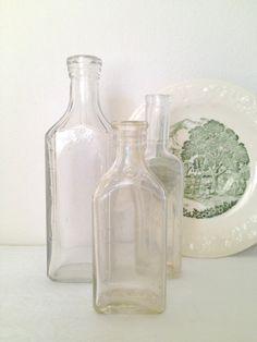 Vintage Glass Medicine Bottle Trio set of by TheLittleThingsVin, $19.00