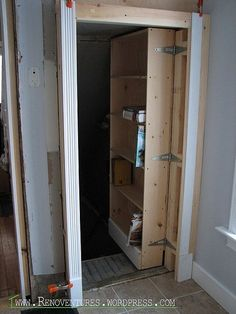 Not really…don't call the cops. All you'll find is the furnace and half a dozen garbage bags filled with returnables. I PROMISE! This project, the hidden door, is one that I have …