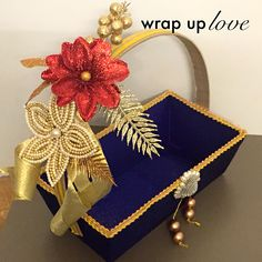 gift hamper by wrap up love. for appointments call us on 7574863830 Thali Decoration Ideas, Basket Decoration, Wedding Plates, Wedding Sweets, Engagement Decorations, Indian Wedding Decorations, Wedding Hamper, Trousseau Packing, Wedding Favours Luxury
