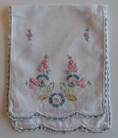 "Vintage Hand Embroidered Runner DRESSER TABLE Small 6 1/2 x 16 1/2"" Crochet Edge"
