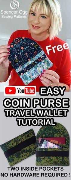 Wallet sewalong - No hardware, beginner friendly Wallet Sewing Pattern, Coin Purse Pattern, Diy Wallet Pattern Free, Diy Coin Purse, Coin Purse Tutorial, Diy Wallet Tutorial, Coin Purses, Easy Sewing Projects, Sewing Tutorials