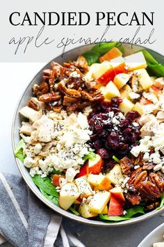 Apple Cranberry Salad, Apple Salad, Spiced Pecans, Candied Pecans, Best Salad Recipes, Salad Recipes For Dinner, Spinach And Feta, Spinach Salad, Salads