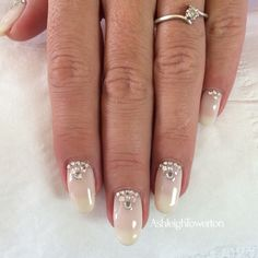 Nude Sparkly Wedding Bridal Nail Art