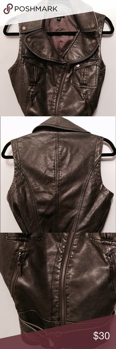 BEBE NWOT FAUX LEATHER GRAY VEST Never worn gray distressed faux leather vest with snap zipper and belt details bebe Jackets & Coats Vests