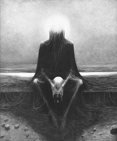 Zdzisław Beksiński  What do you want, Vinicuius?   You know what I want.  I want my watch back.   I don't have it. Where is Navia? Why are you in her bed, and why do you have that sheet over your head?  Riddle me this, Rome: I runs so fast that I slip through your fingers, I