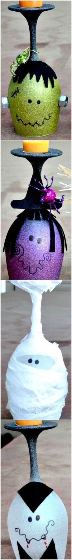 How To Make Halloween Wine Glasses (Candle Holders)