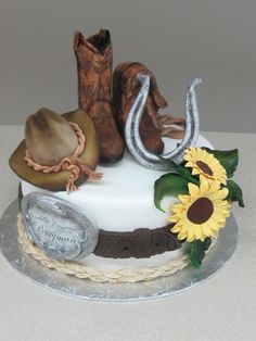Cowboy Style! - This cake is the topper for the cupcake stand!