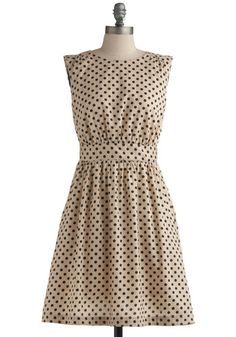Too Much Fun Dress in Sand by Emily and Fin - Cream, Black, Polka Dots, Pockets, Wedding, Party, Casual, Vintage Inspired, A-line, Sleeveless, Mid-length, Cotton, Fit & Flare, Top Rated
