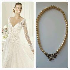 Pronovias Birgit Wedding Dress & BrideIstanbul Necklace. #bride #bridal #wedding #weddingdress #abiye #mezuniyet #necklace #swarovski #pearl #inci #kolye #gelinlik #prom #gown #brideistanbul #etsy #pronovias