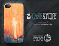 """CASESTUDY No. 115 - """"The Great Fire"""" case for iPhone 4/4S.   The scientists here at the CASESTUDY scientific research facility (that's a fancy schmancy term for fun-loving, creative shop) are totally inspired by nature's textures. In our humble studio, we've extracted the design DNA from the ashes of Chicago's Great Fire of 1871 to create this smart-looking, smart-phone case.   *Not actual burnt wood grain."""