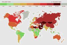 Este mapa mostra os países com os ambientes mais tóxicos do mundo | HypeScience