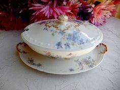 Beautiful Antique Limoges Porcelain Covered Sauce Boat ~ Floral ~ Gold Gilt