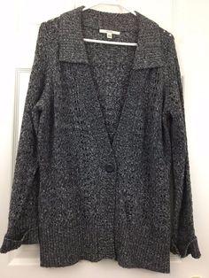 Merona Cardigan Sweater Button Loose Knit Long Sleeve Blue Gray Plus Size XXL  #Merona #Cardigan #Casual