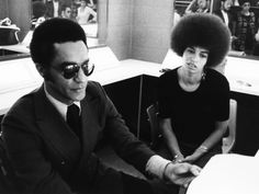 Journalist Tony Brown and Angela Davis - 1972 by Norman Hunter