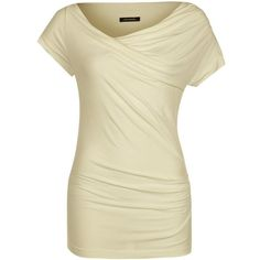Plein Sud Jeanius Basic Tshirt ($86) ❤ liked on Polyvore featuring tops, t-shirts, beige, basic t shirts, collared t shirt, cowl neck tops, basic tee shirts and beige t shirt