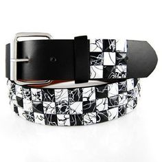 GENUINE LEATHER SNAP ON BLACK / WHITE STUDDED BELT WITH A DETACHABLE BUCKLE FITS ANY BUCKLE $4.50