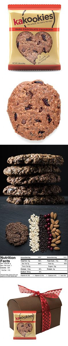 Kakookies Valentine's Day Limited Edition Gift Box (8 Dark Chocolate Cranberry Cookies) - Vegan, Gluten Friendly, Superfood Energy Snack Cookies