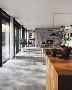 CG - Autumn House - Showcase and discover creative work on the world's leading online platform for creative industrie - Concrete Interiors, Wood Interiors, Autumn Home, Modern House Design, Home Interior Design, Future House, Architecture Design, House Plans, New Homes