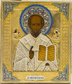 Saint Nicholas of Myra, Russian (Moscow), c. 1896, oil on wood with silver-gilt repousse oklad with silver enamel and river pearls, 31 x 27.5 cm